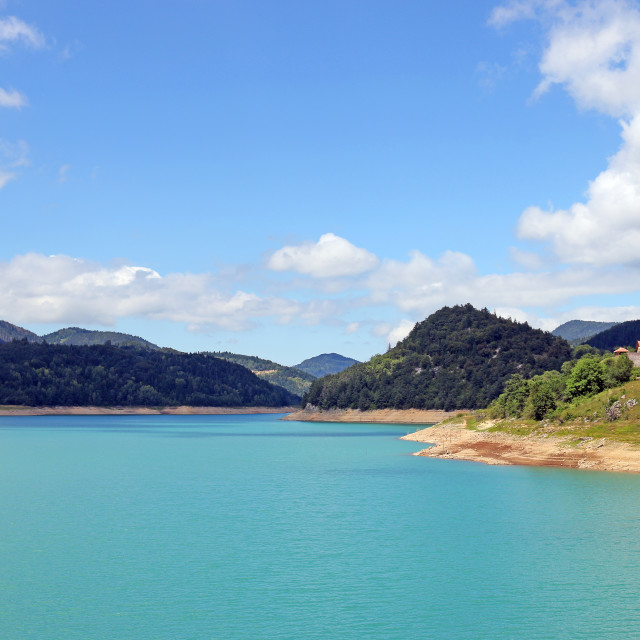 """Zaovine lake on Tara mountain Serbia landscape summer season"" stock image"