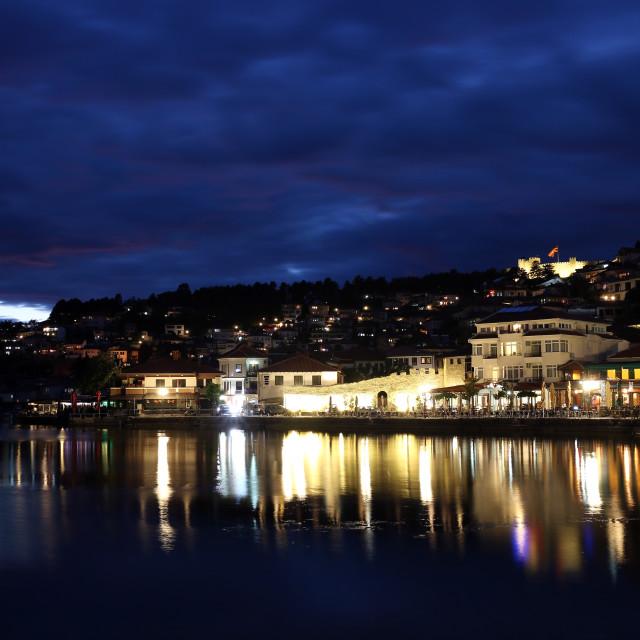 """""""Lake Ohrid and city at night"""" stock image"""