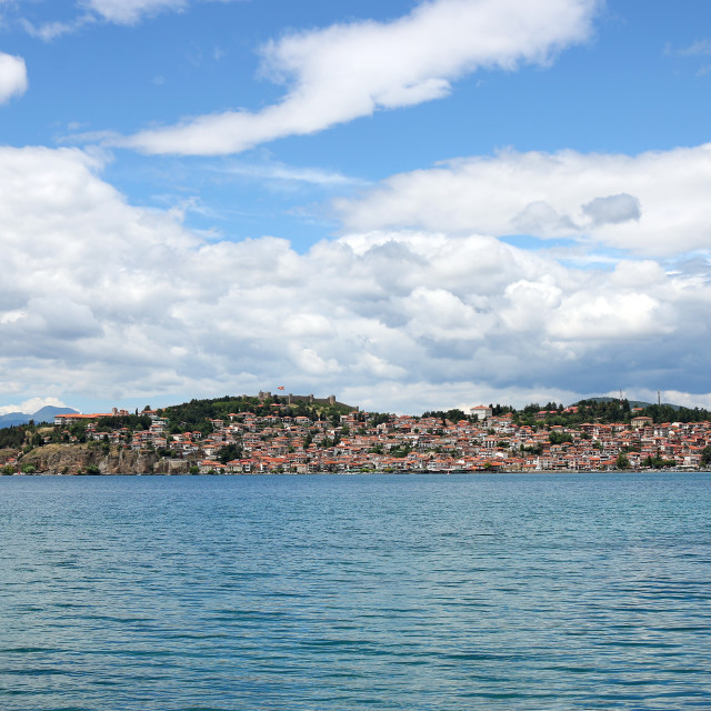 """Ohrid city and lake landscape Macedonia summer season"" stock image"