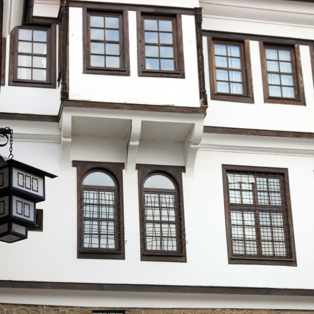 """""""Old building white wall and wooden windows Ohrid Macedonia"""" stock image"""