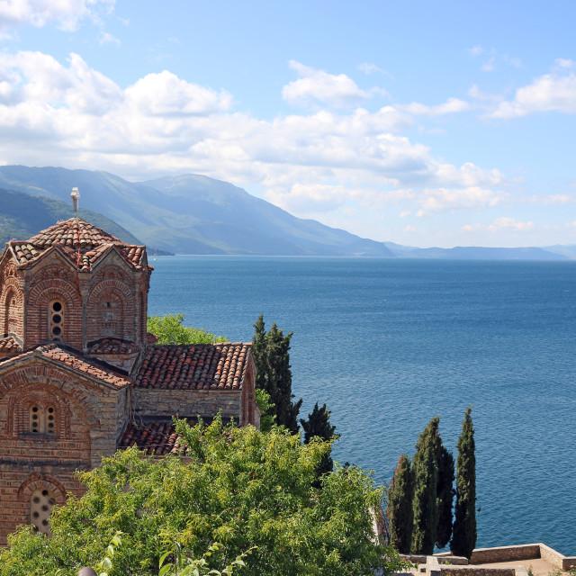"""Jovan Kaneo orthodox church Ohrid Macedonia landscape"" stock image"