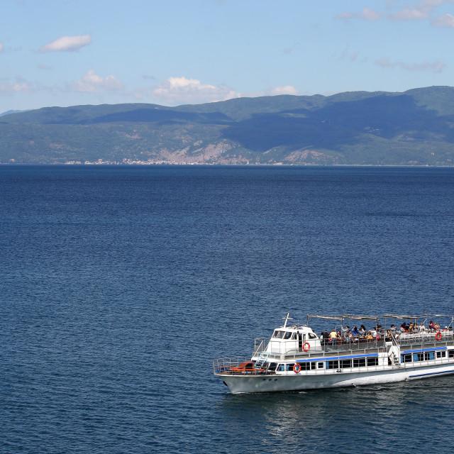 """Tourist boat on Ohrid lake Macedonia"" stock image"