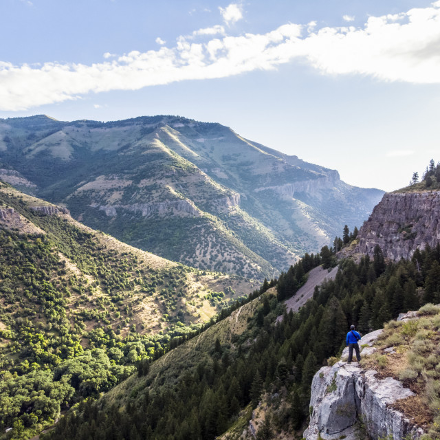 """""""A man stands on a ridge looking out to the mountains and valleys below;..."""" stock image"""
