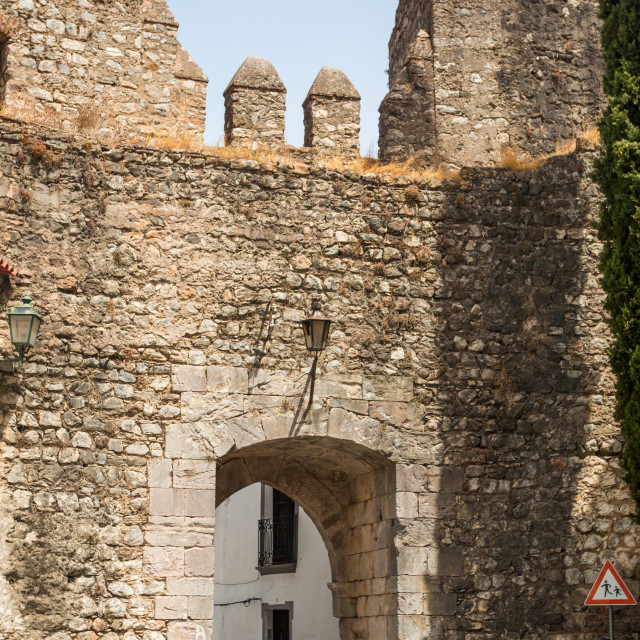 """""""Old Wall entrance of the Castle in Serpa"""" stock image"""