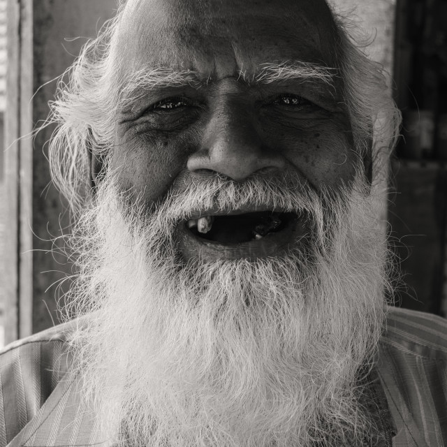"""Portrait of a tribal old man from villagge of Odisha, india"" stock image"