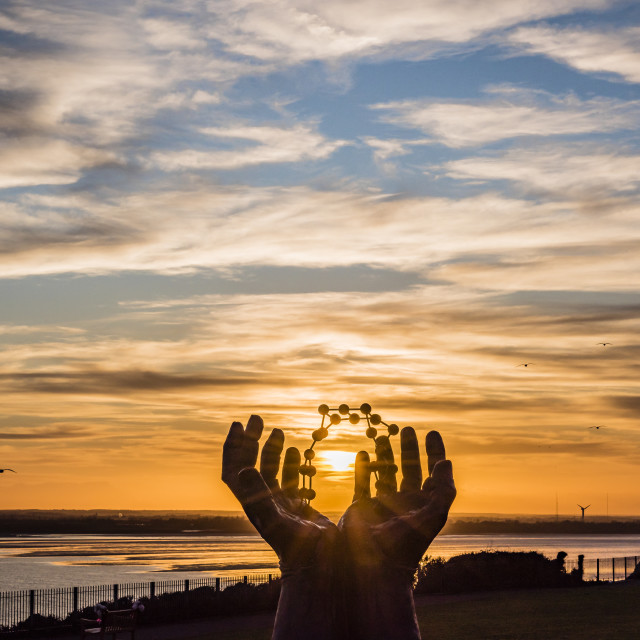 """""""Ramsgate Hands and Molecules sculpture"""" stock image"""