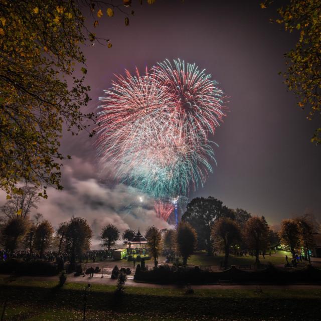 """Colchester Castle Fireworks"" stock image"
