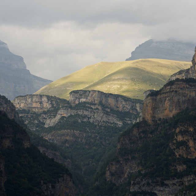 """""""A break of Light in the Canyon Anisclo"""" stock image"""