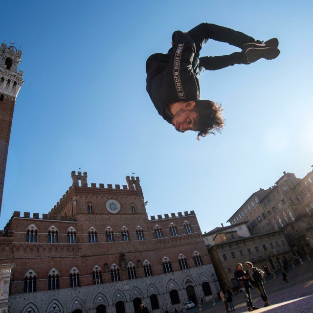"""""""Palestinian Parkour In the International Competitions"""" stock image"""