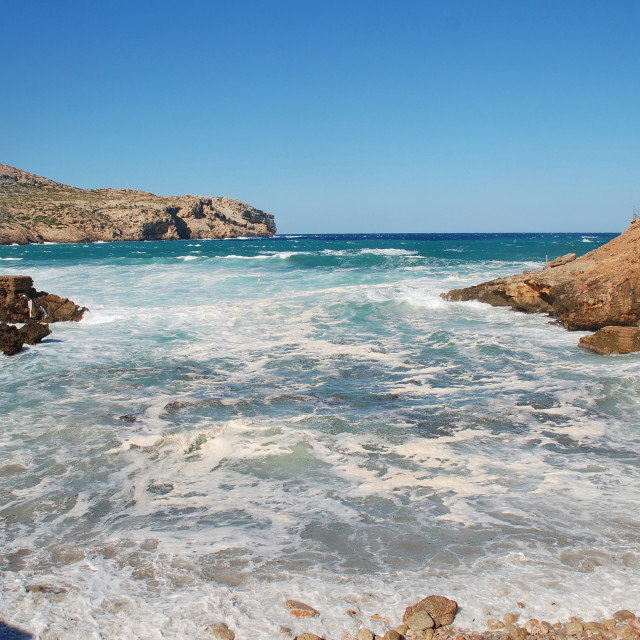"""Stormy seas at Cala Carbo on Majorca"" stock image"