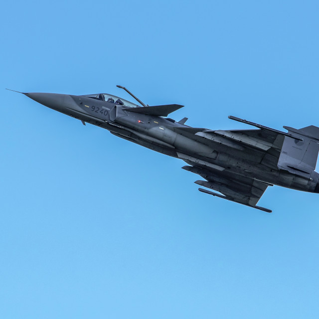 """Saab JAS 39 Gripen on Display"" stock image"