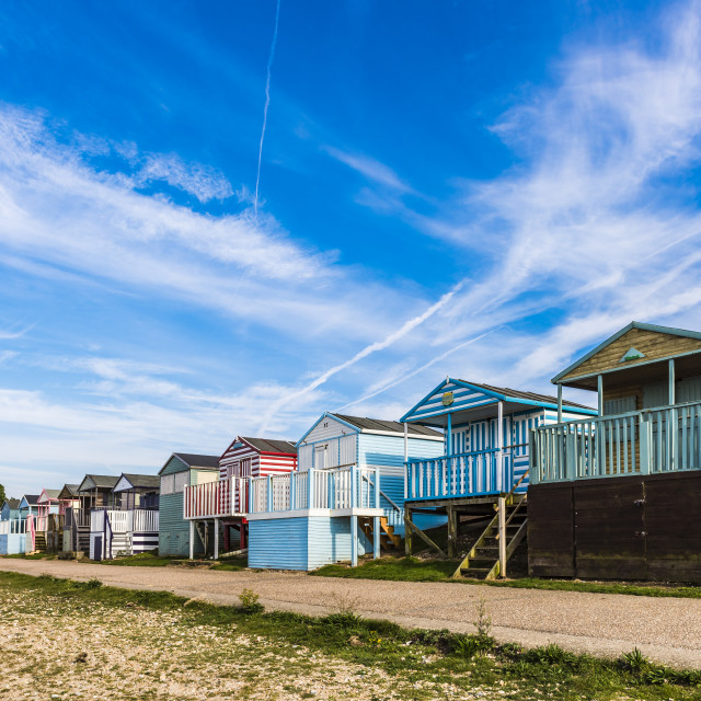 """Beach Huts Tankerton Kent"" stock image"