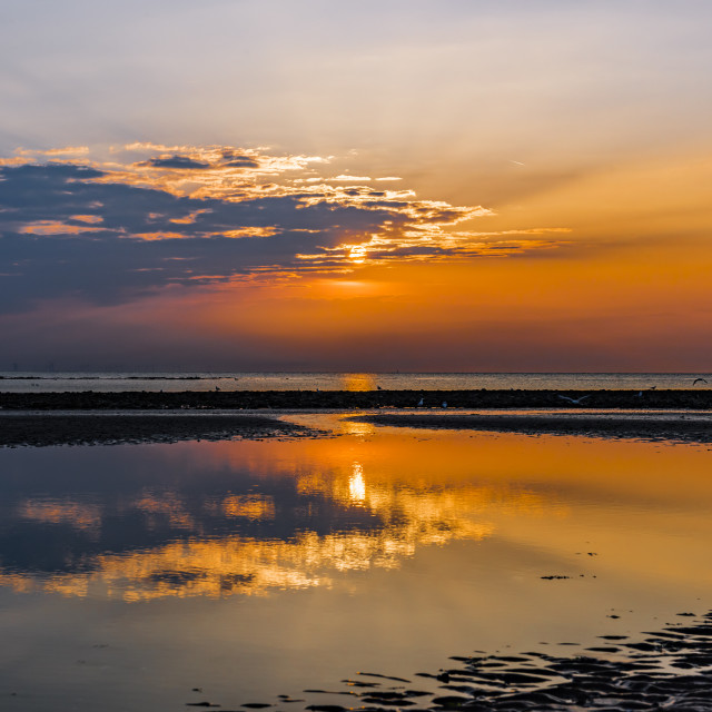 """""""Sunset over sea at Margate"""" stock image"""