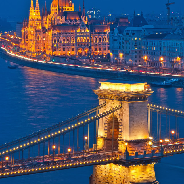 """""""Panorama of Budapest, Hungary, with the Chain Bridge and the Parliament."""" stock image"""