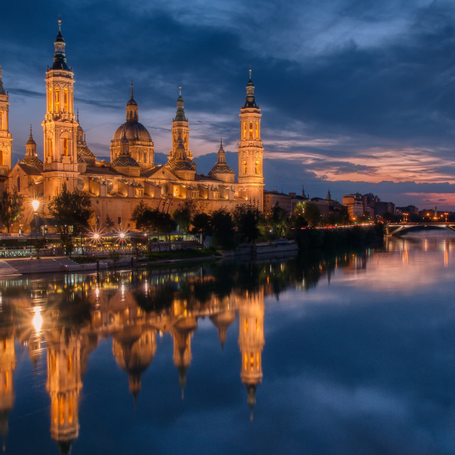 """""""Basilica of Our Lady of the Pillar, Zaragoza, Spain."""" stock image"""