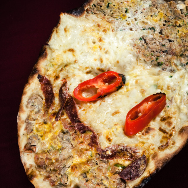 """""""Turkish Pita Bread with Sausage, Cheese and Pepper"""" stock image"""
