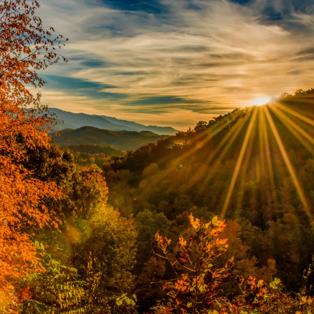 """Sunbeams Over Foothills Parkway"" stock image"
