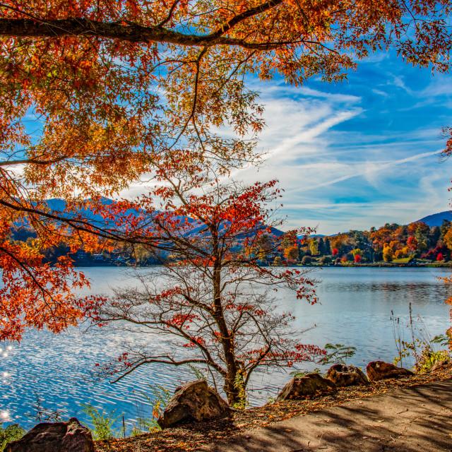 """Lake Junaluska Colorful Autumn"" stock image"
