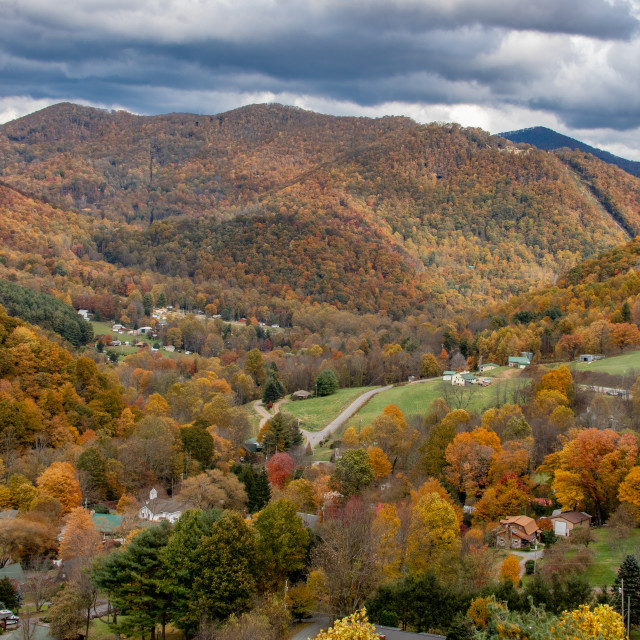 """Stormy Autumn Skies over Soco Gap"" stock image"