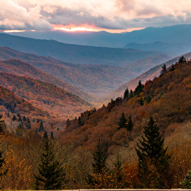 """Autumn Storm Clouds over Smoky Mountains"" stock image"