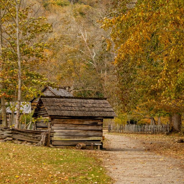 """Oconaluftee Village in Autumn"" stock image"