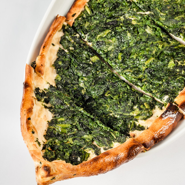 """""""Authentic Turkish Pita Bread with Spinach"""" stock image"""