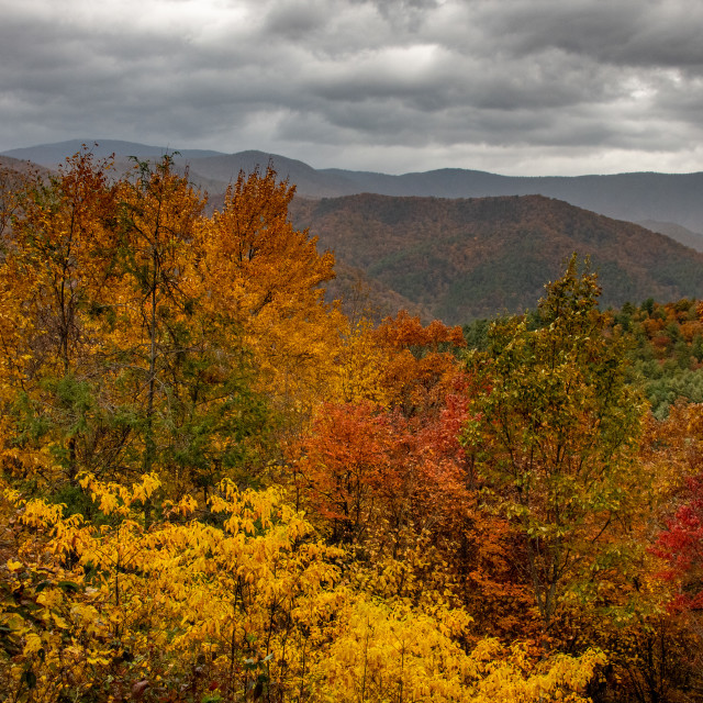 """Storm Clouds over the Blue Ridge Mountains"" stock image"