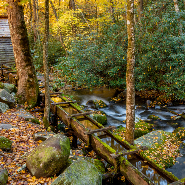 """Grist Mill along Roaring Fork"" stock image"