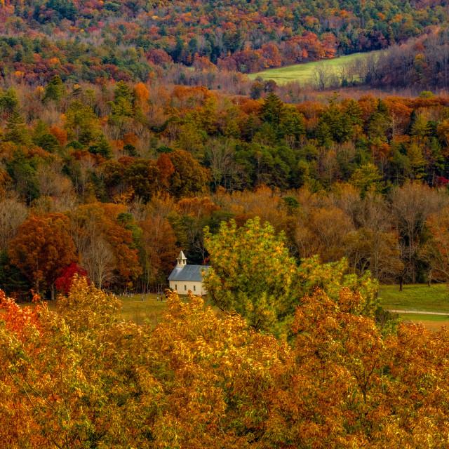 """Methodist Church among autumn foliage"" stock image"