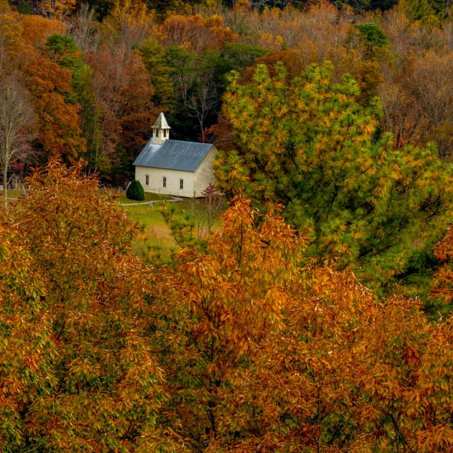 """Cades Cove Methodist Church"" stock image"