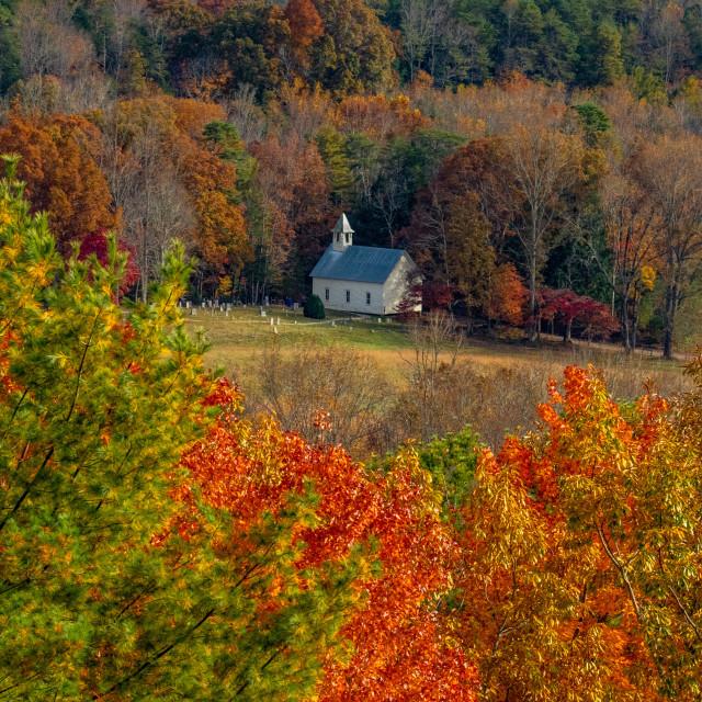 """Cades Cove Methodist Church in Autumn"" stock image"