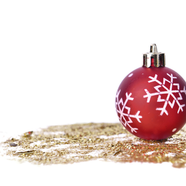 """one christmas bauble on glitters"" stock image"