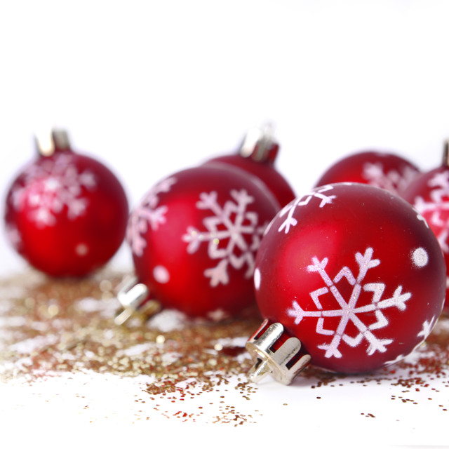 """christmas balls on glitters"" stock image"