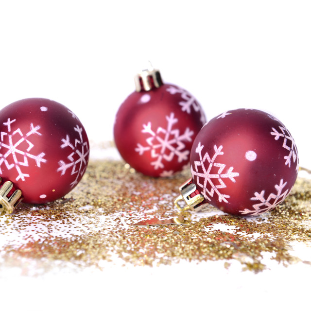 """christmas baubles on glitters"" stock image"