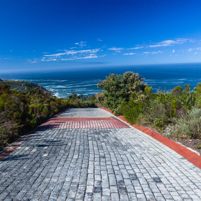 """Vehicle Driveway Stone Towards Ocean Horizon"" stock image"