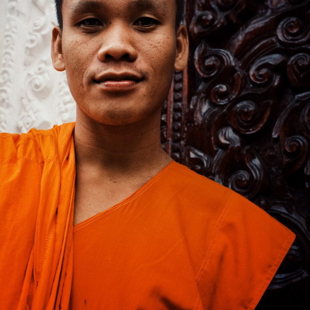 """""""Pakse / Laos - JUL 06 2011: monk Baud in front of his monastery at the southern part of the country"""" stock image"""