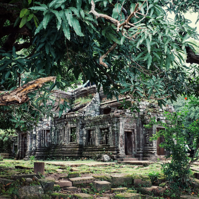 """""""Wat Phu an ancient monument and unesco protected heritage site of south east asia form the Angkor era"""" stock image"""