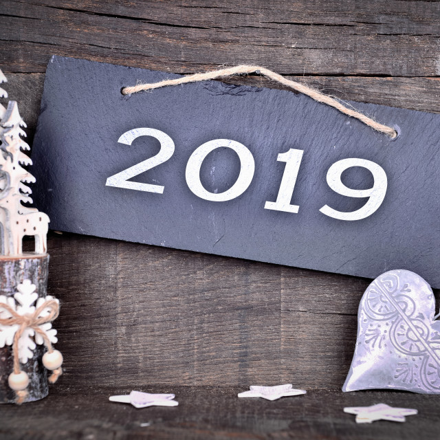 """""""2019 new year greeting card"""" stock image"""