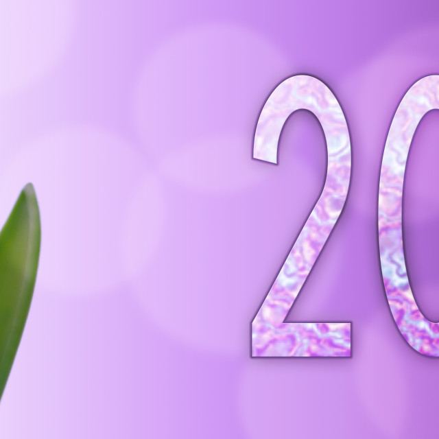 """2019 new year on flower background"" stock image"