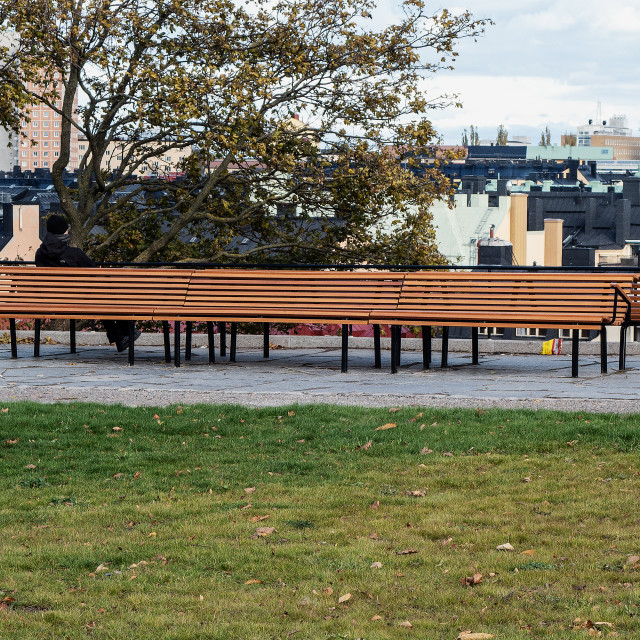 """""""A long bench"""" stock image"""