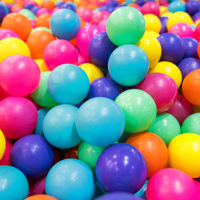 """colorful plastic balls in pool or pit"" stock image"