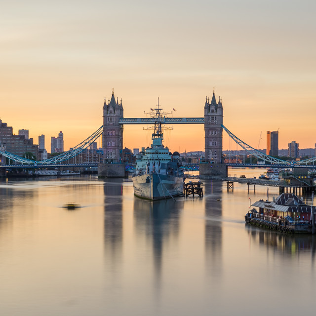"""HMS Belfast and Tower Bridge in the morning"" stock image"