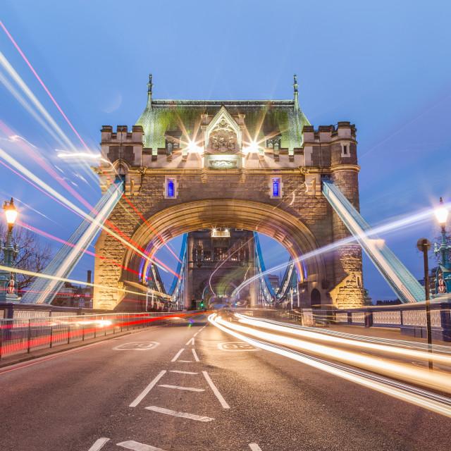 """Tower Bridge and Traffic"" stock image"