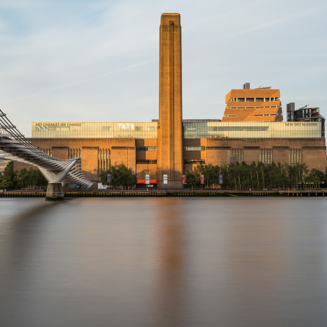 """Tate Modern and Millenium Bridge in the Morning"" stock image"