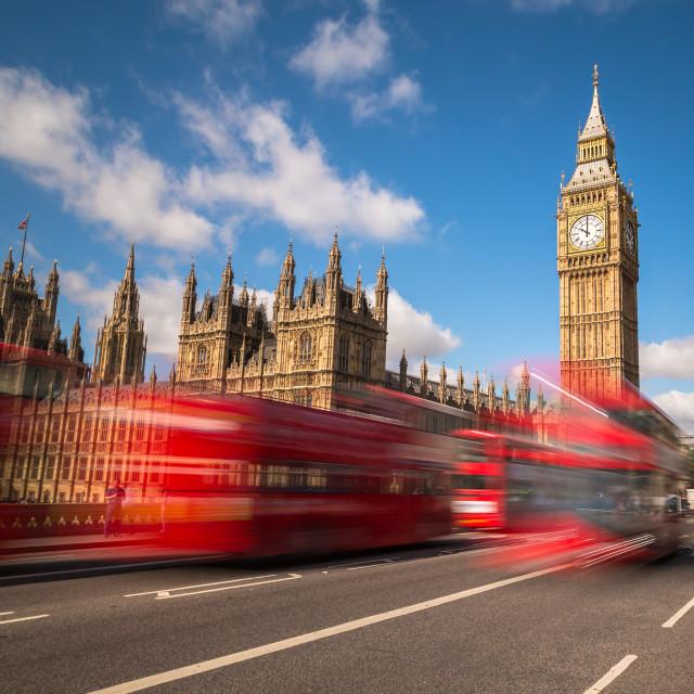 """Big Ben and London Buses"" stock image"