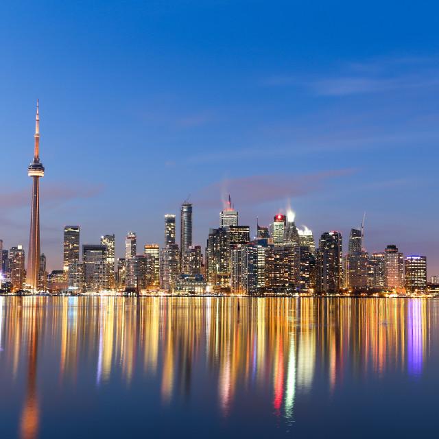 """Toronto Skyline at Twilight in the Winter"" stock image"