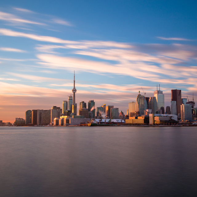 """""""Toronto Skyline from the East at sunset"""" stock image"""