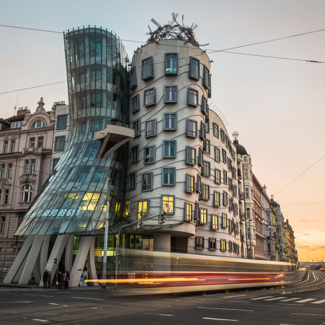 """""""Dancing House (Fred and Ginger) in Prague during the day"""" stock image"""