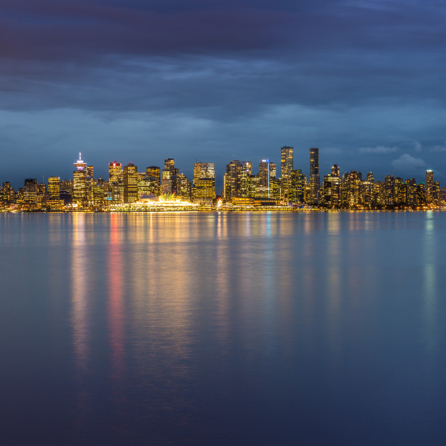 """View of Vancouver Downtown from North Vancouver at dusk, British"" stock image"