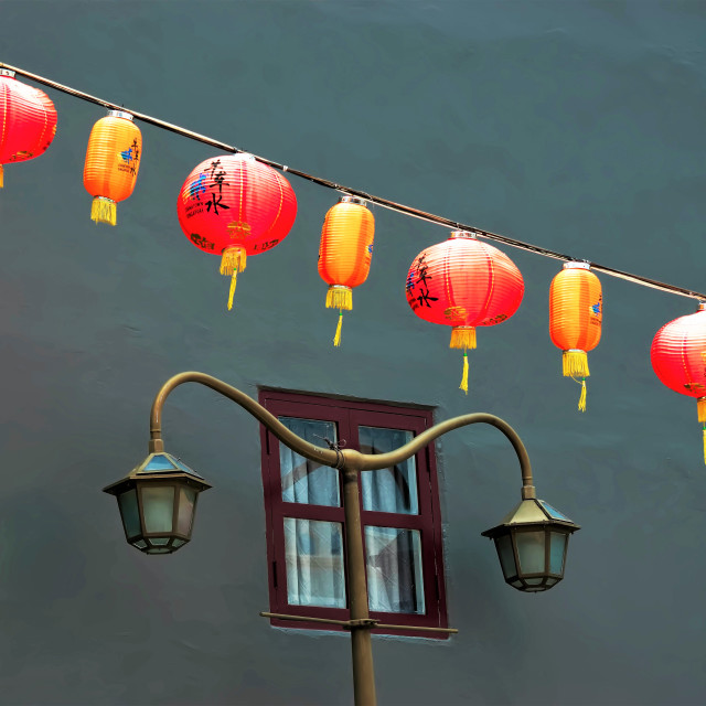 """""""Chinese Lanterns and Antique Street Lamp"""" stock image"""
